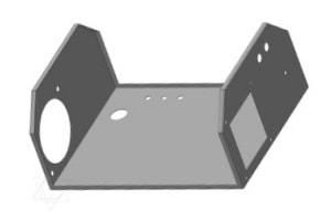 Präzisionsblechteil im Detail mit CAD-Ansicht