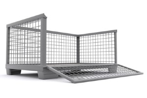 Transportbehälter aus Metall mit aufklappbarer Öffnung