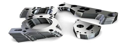 Ansicht verschiedener Stanzteile aus Feinblechen wie Stahl oder Aluminium